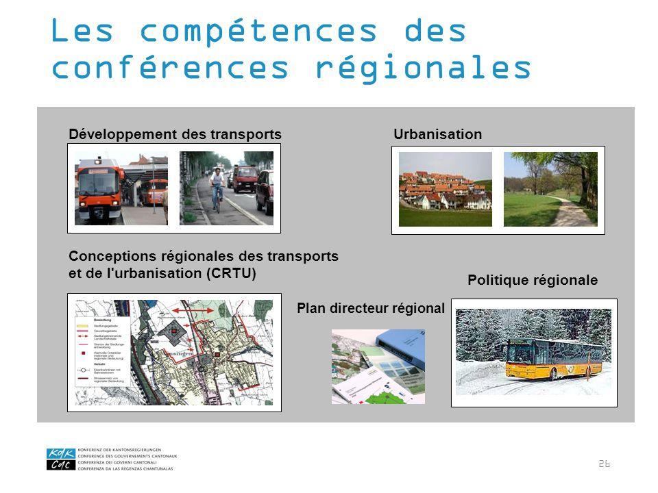 26 Les compétences des conférences régionales Développement des transportsUrbanisation Conceptions régionales des transports et de l'urbanisation (CRT