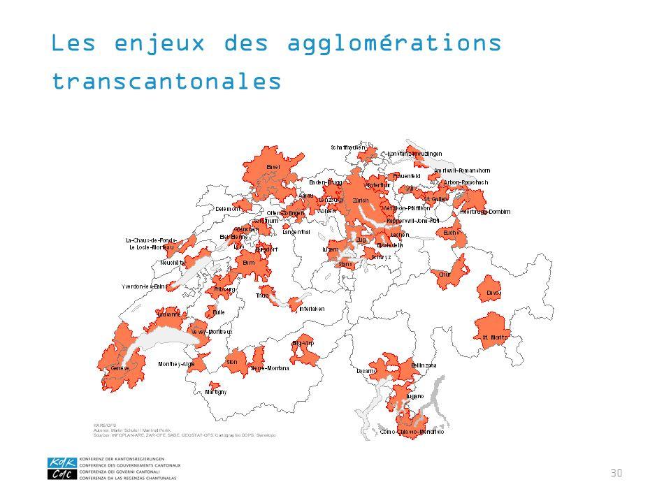 30 Les enjeux des agglomérations transcantonales