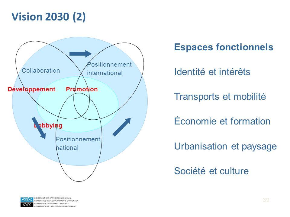 DéveloppementPromotion Lobbying Positionnement international Positionnement national Collaboration Vision 2030 (2) Espaces fonctionnels Identité et in