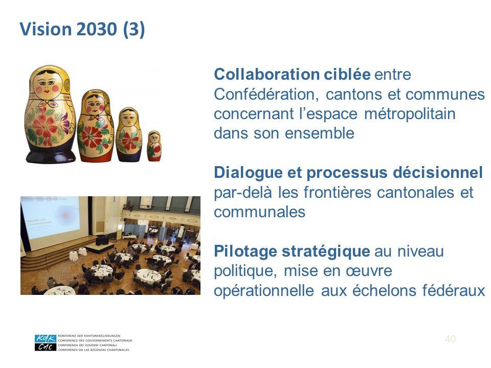 40 Vision 2030 (3) Collaboration ciblée entre Confédération, cantons et communes concernant lespace métropolitain dans son ensemble Dialogue et proces