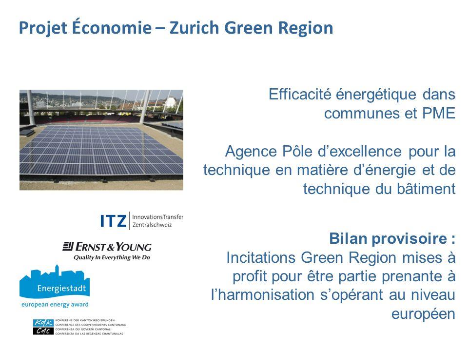 Efficacité énergétique dans communes et PME Agence Pôle dexcellence pour la technique en matière dénergie et de technique du bâtiment Bilan provisoire