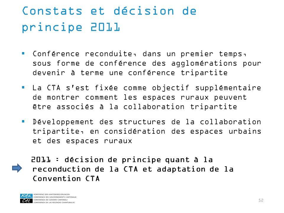 52 Conférence reconduite, dans un premier temps, sous forme de conférence des agglomérations pour devenir à terme une conférence tripartite La CTA s'e