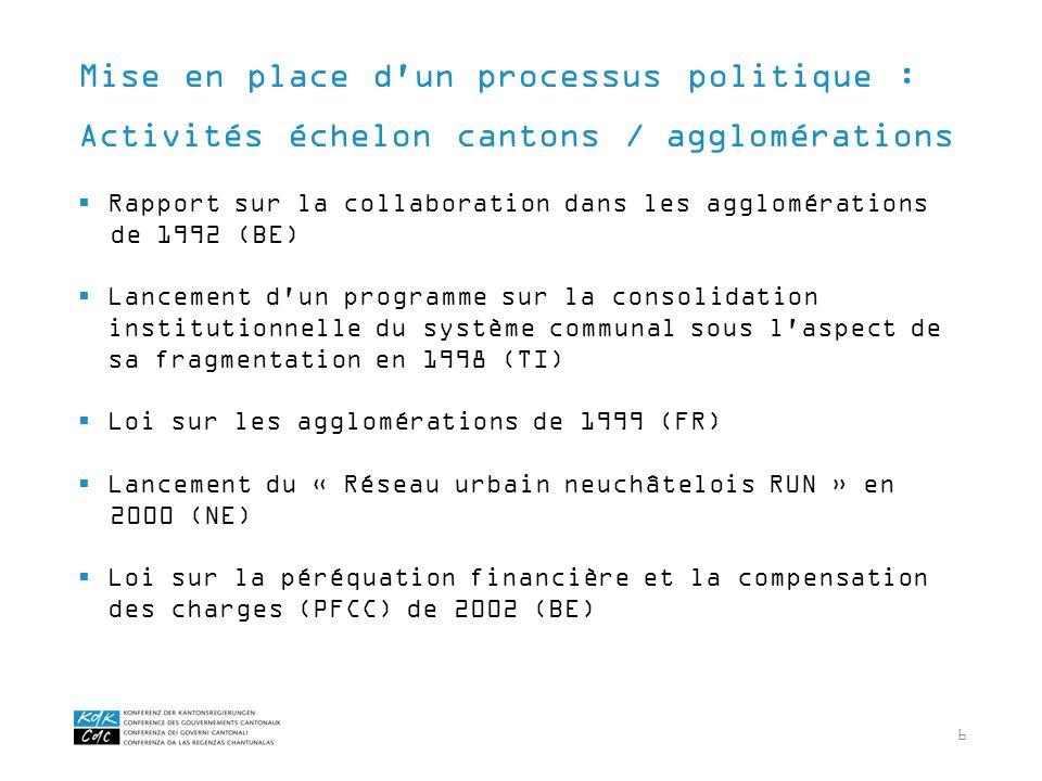 6 Rapport sur la collaboration dans les agglomérations de 1992 (BE) Lancement d'un programme sur la consolidation institutionnelle du système communal