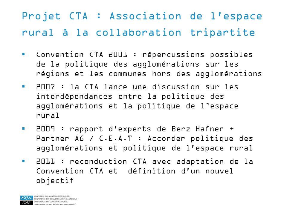 Convention CTA 2001 : répercussions possibles de la politique des agglomérations sur les régions et les communes hors des agglomérations 2007 : la CTA