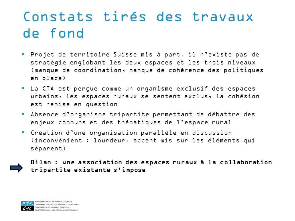 Projet de territoire Suisse mis à part, il nexiste pas de stratégie englobant les deux espaces et les trois niveaux (manque de coordination, manque de
