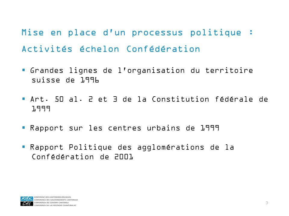 7 Grandes lignes de l'organisation du territoire suisse de 1996 Art. 50 al. 2 et 3 de la Constitution fédérale de 1999 Rapport sur les centres urbains