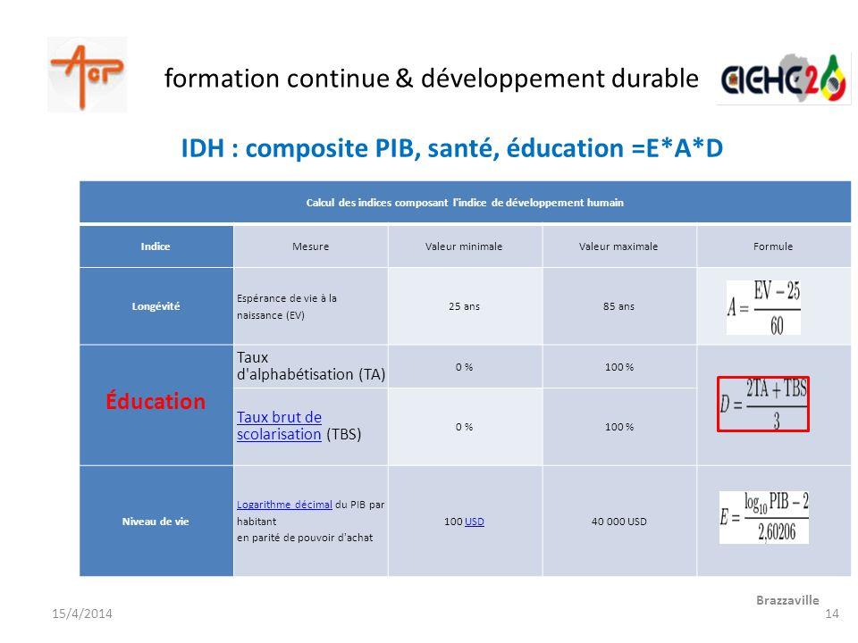 formation continue & développement durable Brazzaville 15/4/2014 Calcul des indices composant l'indice de développement humain IndiceMesureValeur mini