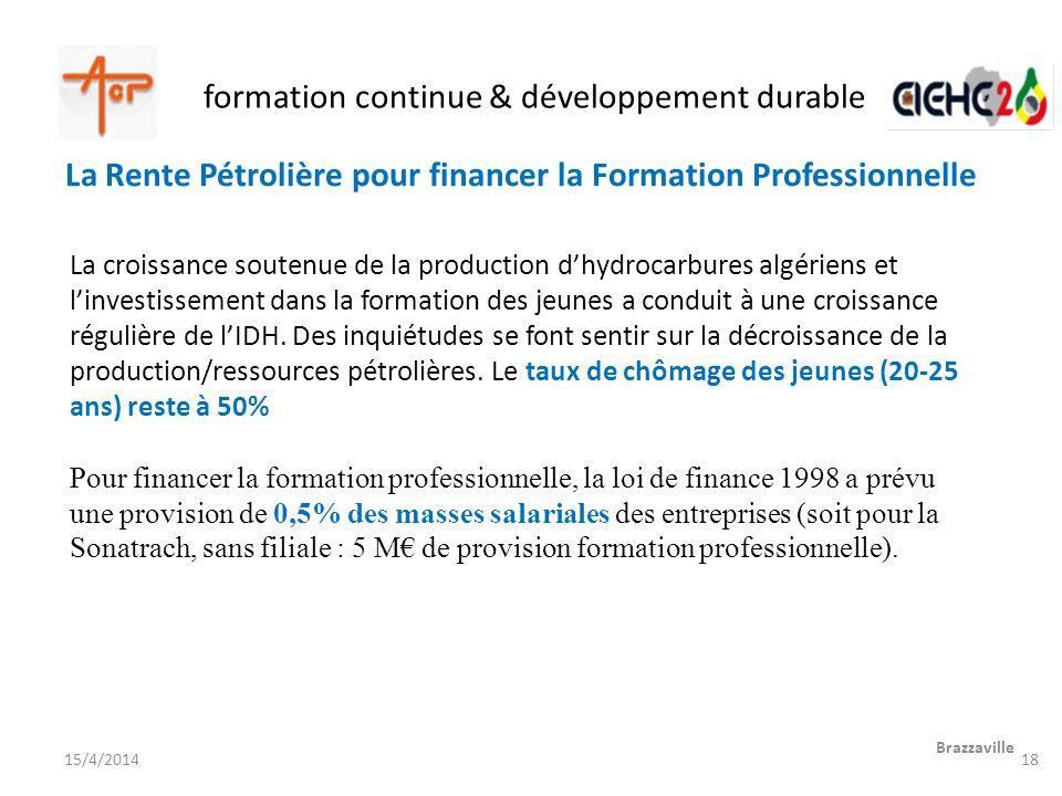 formation continue & développement durable Brazzaville 15/4/2014 La croissance soutenue de la production dhydrocarbures algériens et linvestissement d