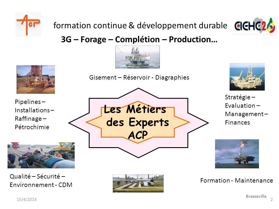 formation continue & développement durable Brazzaville 15/4/2014 Les Métiers des Experts ACP Gisement – Réservoir - Diagraphies Pipelines – Installati