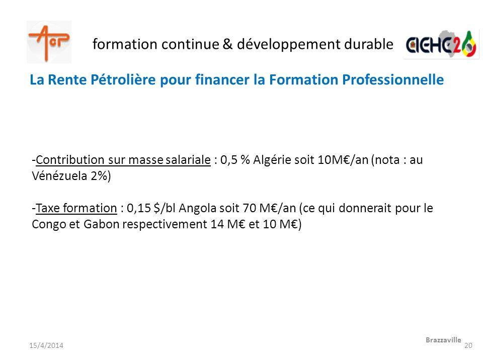 formation continue & développement durable Brazzaville 15/4/2014 -Contribution sur masse salariale : 0,5 % Algérie soit 10M/an (nota : au Vénézuela 2%