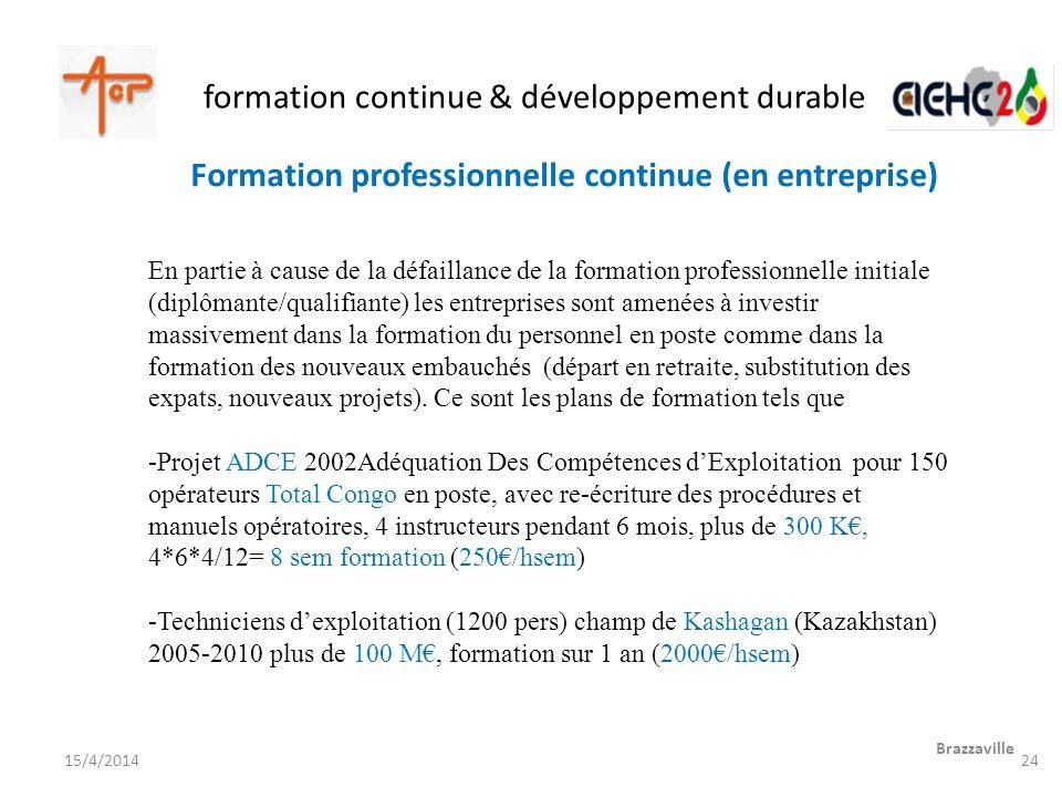 formation continue & développement durable Brazzaville 15/4/2014 En partie à cause de la défaillance de la formation professionnelle initiale (diplôma