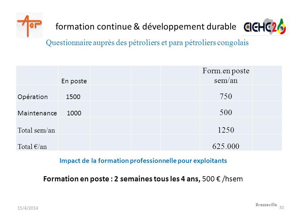 formation continue & développement durable Brazzaville 15/4/2014 En poste Form.en poste sem/an Opération1500 750 Maintenance1000 500 Total sem/an 1250