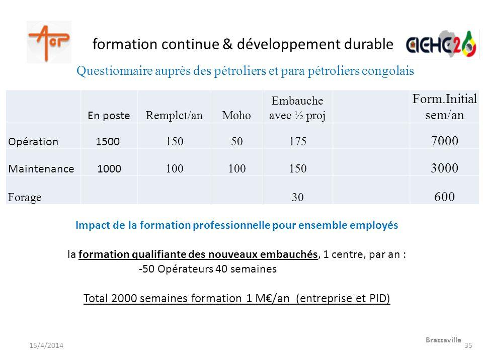 formation continue & développement durable Brazzaville 15/4/2014 Questionnaire auprès des pétroliers et para pétroliers congolais Impact de la formati