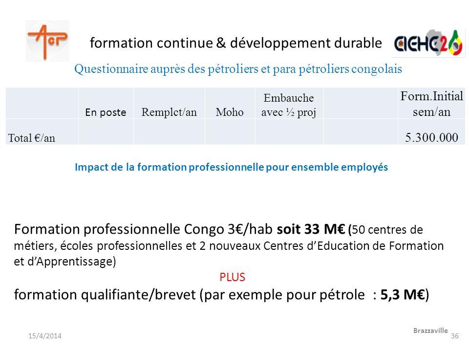 formation continue & développement durable Formation professionnelle Congo 3/hab soit 33 M (50 centres de métiers, écoles professionnelles et 2 nouvea