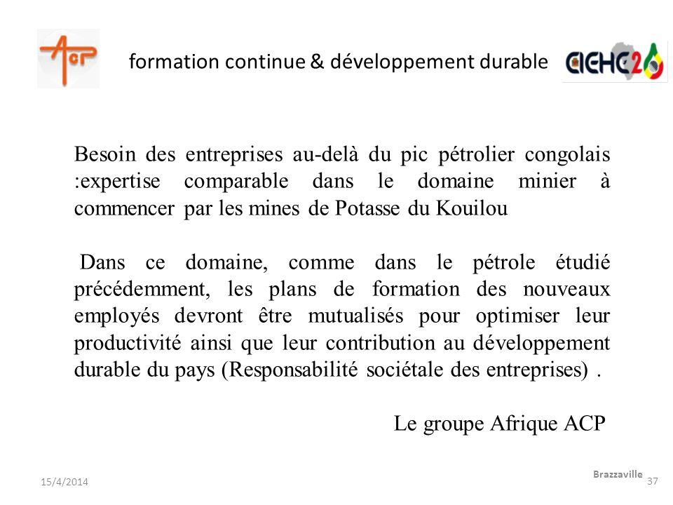 formation continue & développement durable Brazzaville 15/4/2014 Besoin des entreprises au-delà du pic pétrolier congolais :expertise comparable dans