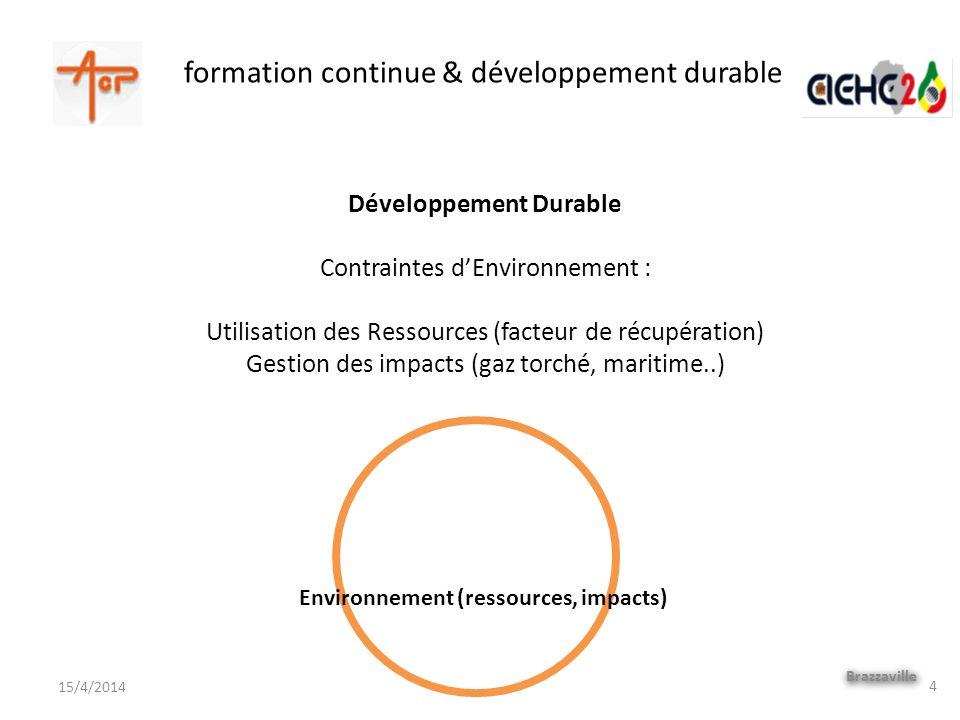 formation continue & développement durable Brazzaville 15/4/2014 Développement Durable Contraintes dEnvironnement : Utilisation des Ressources (facteu