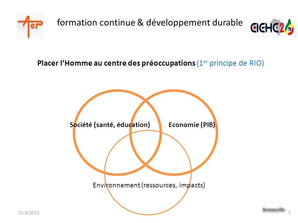 formation continue & développement durable Brazzaville 15/4/2014 Placer lHomme au centre des préoccupations (1 er principe de RIO) 5 Environnement (re
