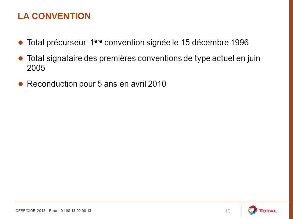 LA CONVENTION ICESP/CIOR 2013 – Brno – 01.08.13-02.08.13 10 Total précurseur: 1 ère convention signée le 15 décembre 1996 Total signataire des premières conventions de type actuel en juin 2005 Reconduction pour 5 ans en avril 2010