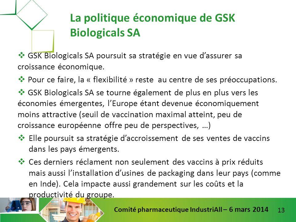 13 Comité pharmaceutique IndustriAll – 6 mars 2014 GSK Biologicals SA poursuit sa stratégie en vue dassurer sa croissance économique. Pour ce faire, l