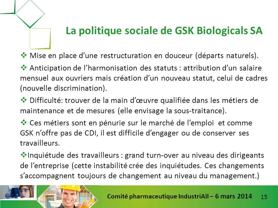 15 Comité pharmaceutique IndustriAll – 6 mars 2014 Mise en place dune restructuration en douceur (départs naturels). Anticipation de lharmonisation de