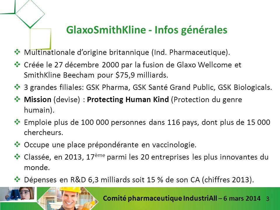 14 Comité pharmaceutique IndustriAll – 6 mars 2014 Elle a effectué de gros investissements dans dénormes machines (ex: de packaging) pour les blockbusters il y a cinq ans.