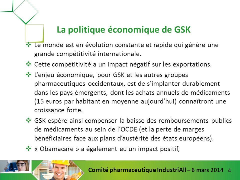 15 Comité pharmaceutique IndustriAll – 6 mars 2014 Mise en place dune restructuration en douceur (départs naturels).