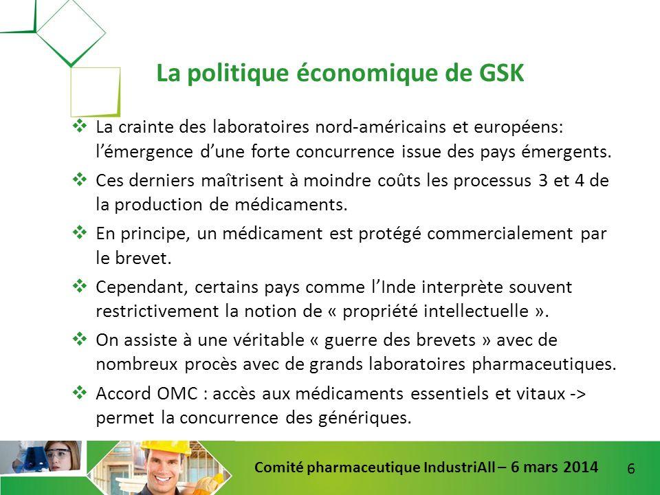6 Comité pharmaceutique IndustriAll – 6 mars 2014 La crainte des laboratoires nord-américains et européens: lémergence dune forte concurrence issue de