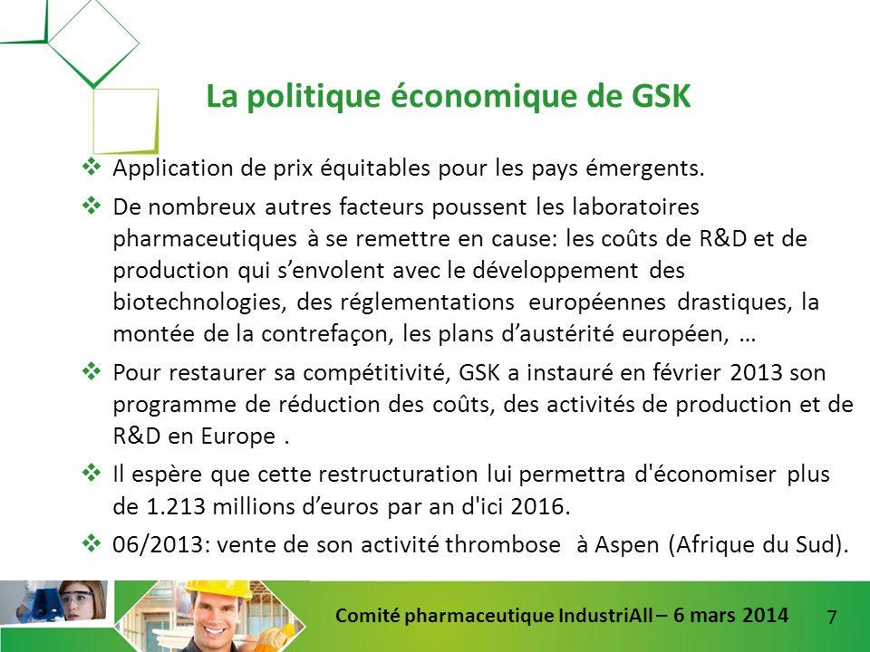 7 Comité pharmaceutique IndustriAll – 6 mars 2014 Application de prix équitables pour les pays émergents. De nombreux autres facteurs poussent les lab