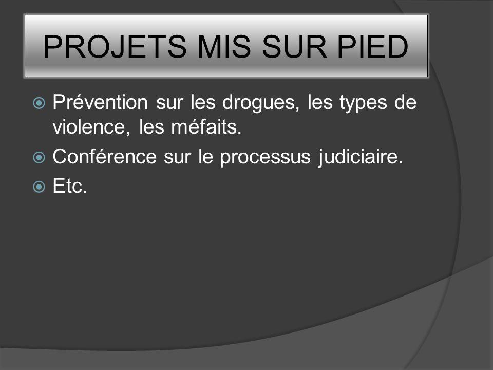 PROJETS MIS SUR PIED Prévention sur les drogues, les types de violence, les méfaits. Conférence sur le processus judiciaire. Etc.
