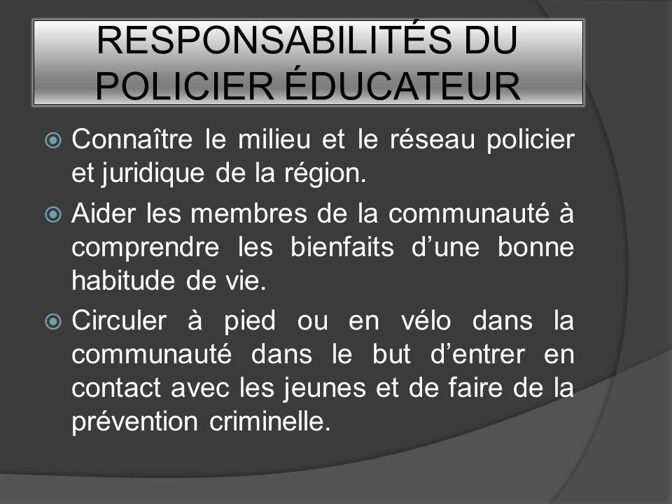 RESPONSABILITÉS DU POLICIER ÉDUCATEUR Connaître le milieu et le réseau policier et juridique de la région. Aider les membres de la communauté à compre