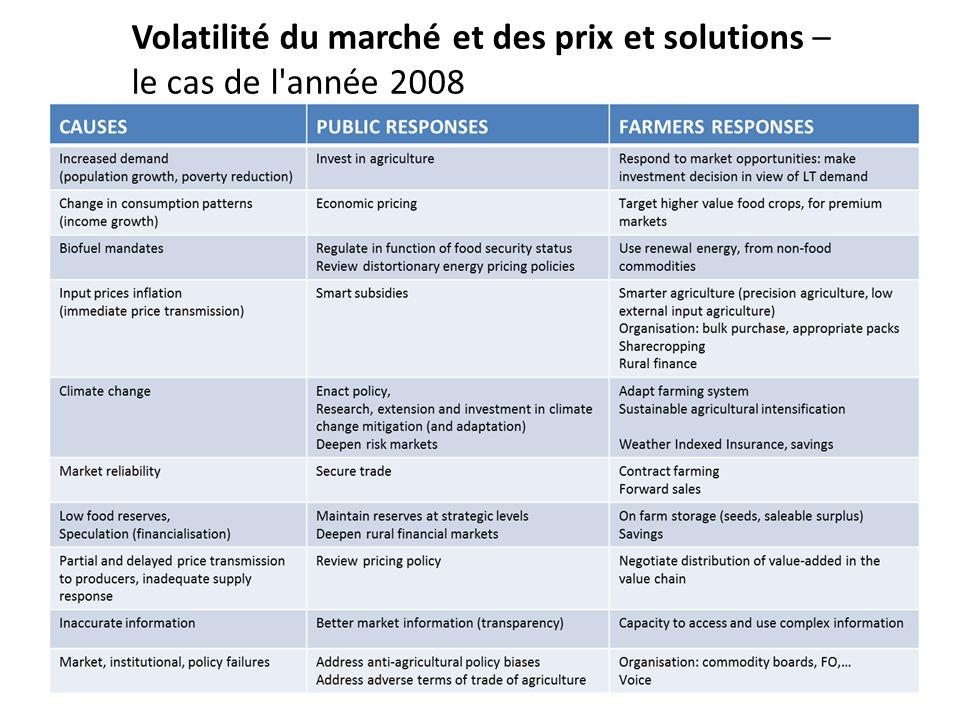 Volatilité du marché et des prix et solutions – le cas de l année 2008