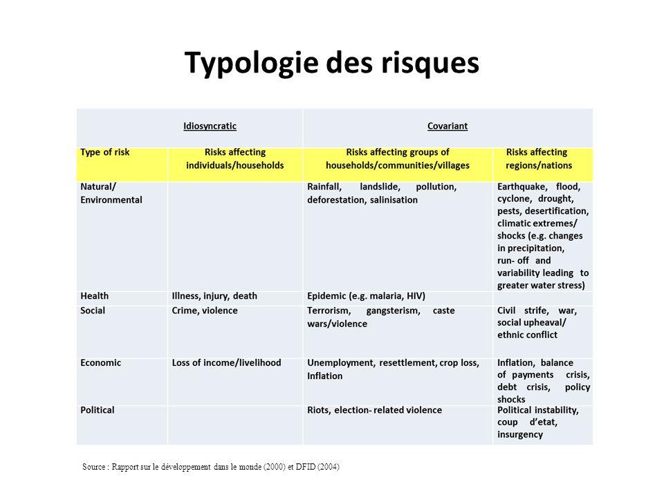 Typologie des risques Source : Rapport sur le développement dans le monde (2000) et DFID (2004)