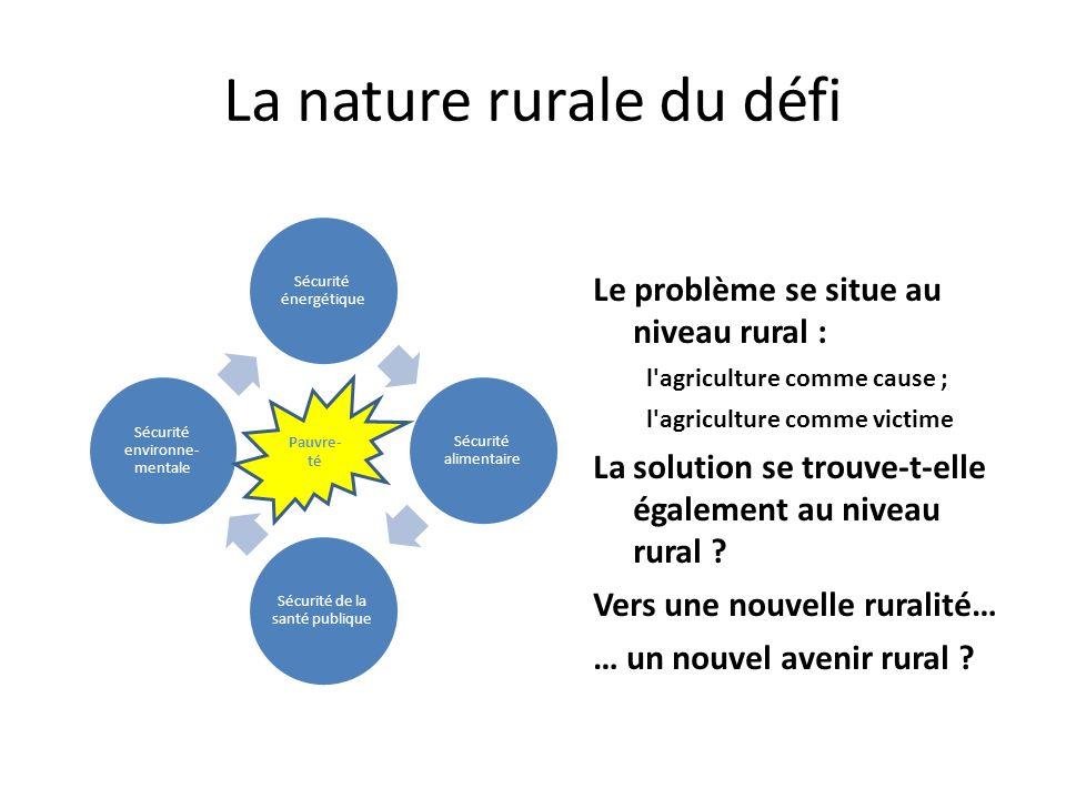 La nature rurale du défi Sécurité énergétique Sécurité alimentaire Sécurité de la santé publique Sécurité environne- mentale Le problème se situe au niveau rural : l agriculture comme cause ; l agriculture comme victime La solution se trouve-t-elle également au niveau rural .