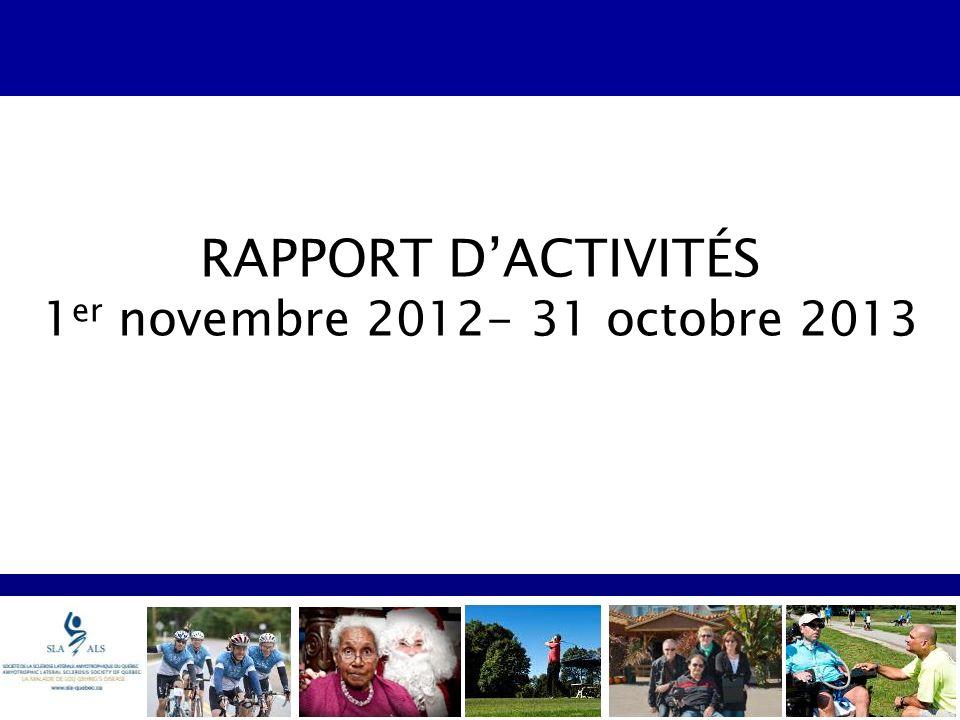 RAPPORT DACTIVITÉS 1 er novembre 2012- 31 octobre 2013