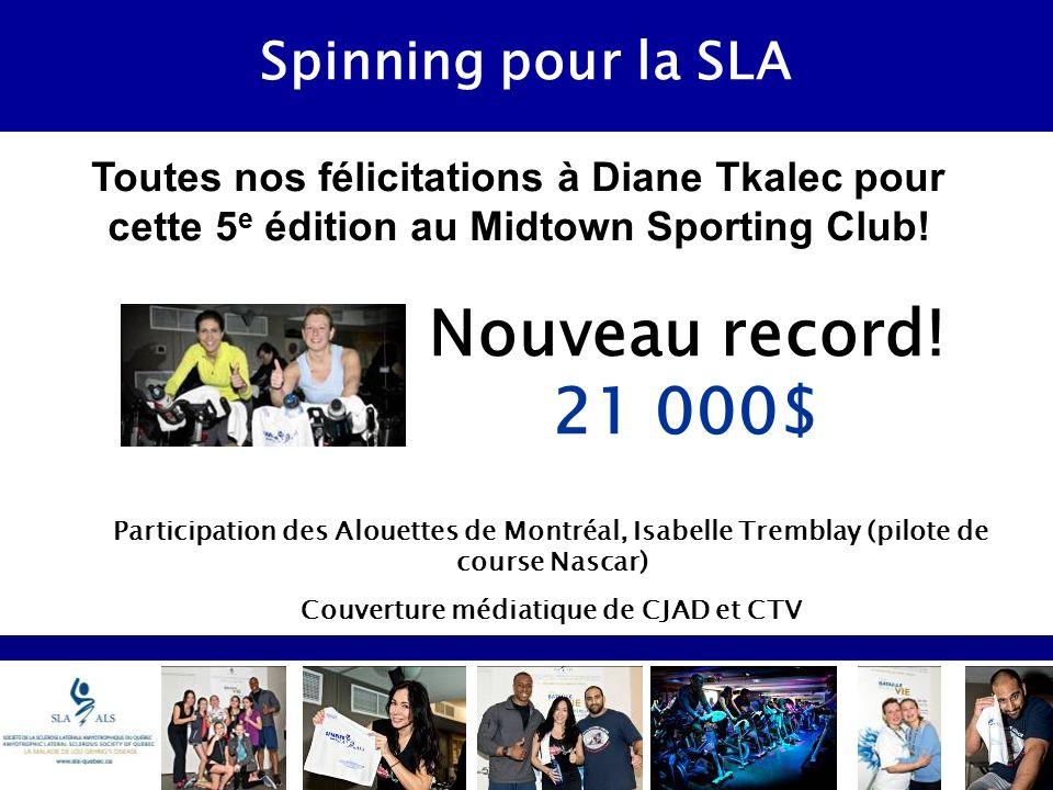 Spinning pour la SLA Toutes nos félicitations à Diane Tkalec pour cette 5 e édition au Midtown Sporting Club.