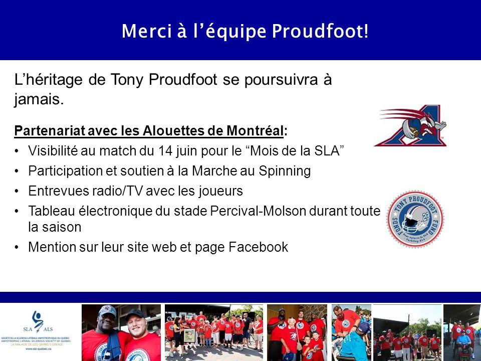Merci à léquipe Proudfoot. Lhéritage de Tony Proudfoot se poursuivra à jamais.