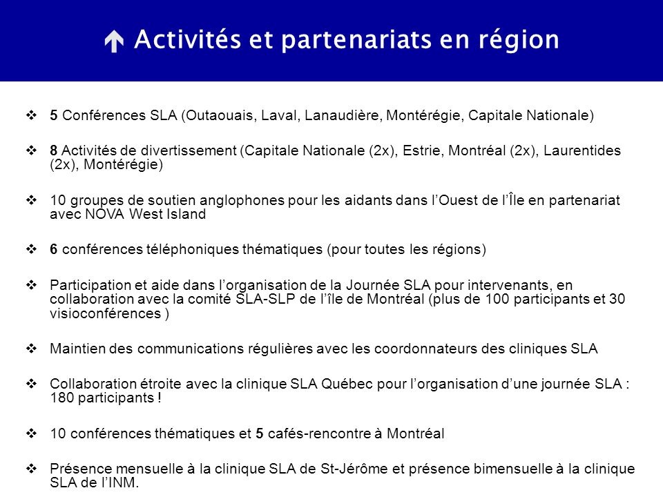 Activités et partenariats en région 5 Conférences SLA (Outaouais, Laval, Lanaudière, Montérégie, Capitale Nationale) 8 Activités de divertissement (Capitale Nationale (2x), Estrie, Montréal (2x), Laurentides (2x), Montérégie) 10 groupes de soutien anglophones pour les aidants dans lOuest de lÎle en partenariat avec NOVA West Island 6 conférences téléphoniques thématiques (pour toutes les régions) Participation et aide dans lorganisation de la Journée SLA pour intervenants, en collaboration avec la comité SLA-SLP de lîle de Montréal (plus de 100 participants et 30 visioconférences ) Maintien des communications régulières avec les coordonnateurs des cliniques SLA Collaboration étroite avec la clinique SLA Québec pour lorganisation dune journée SLA : 180 participants .