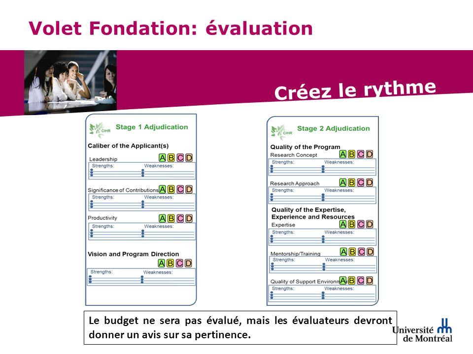 Créez le rythme Volet Fondation: évaluation Le budget ne sera pas évalué, mais les évaluateurs devront donner un avis sur sa pertinence.