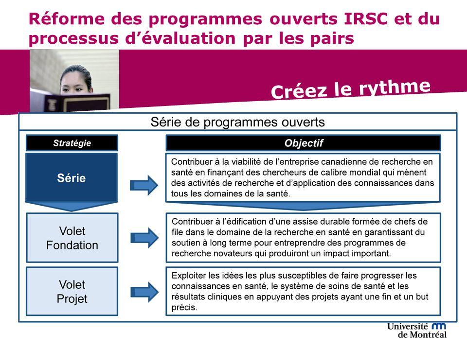 Créez le rythme Réforme des programmes ouverts IRSC et du processus dévaluation par les pairs
