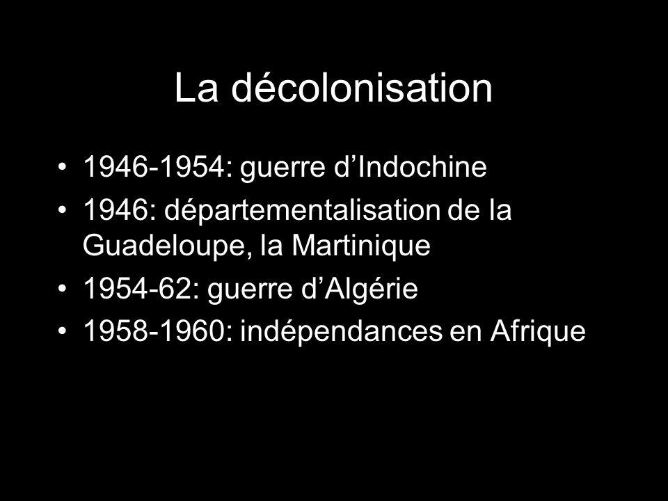 La décolonisation 1946-1954: guerre dIndochine 1946: départementalisation de la Guadeloupe, la Martinique 1954-62: guerre dAlgérie 1958-1960: indépend