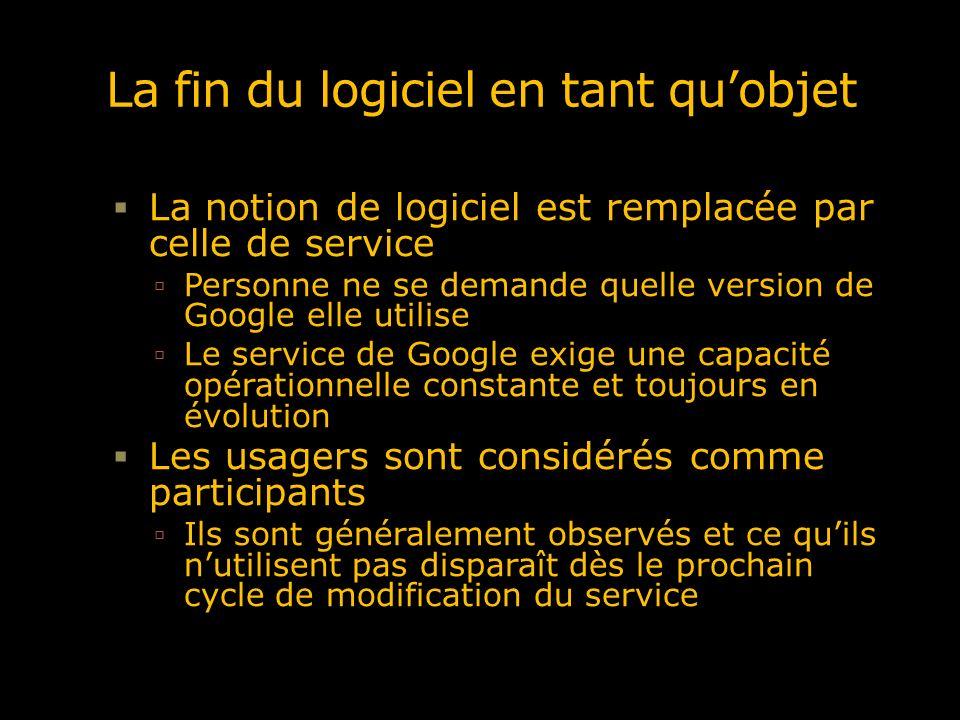 La fin du logiciel en tant quobjet La notion de logiciel est remplacée par celle de service Personne ne se demande quelle version de Google elle utili