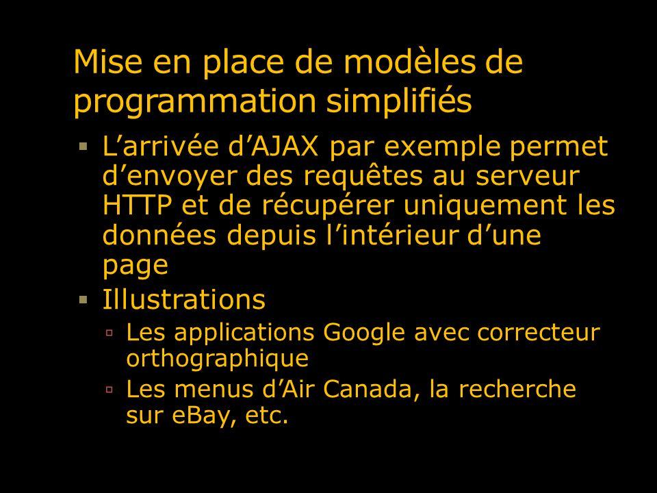 Mise en place de modèles de programmation simplifiés Larrivée dAJAX par exemple permet denvoyer des requêtes au serveur HTTP et de récupérer uniquemen