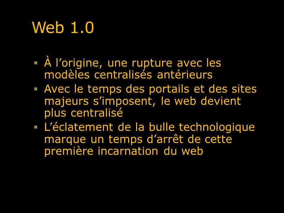 Web 1.0 À lorigine, une rupture avec les modèles centralisés antérieurs Avec le temps des portails et des sites majeurs simposent, le web devient plus