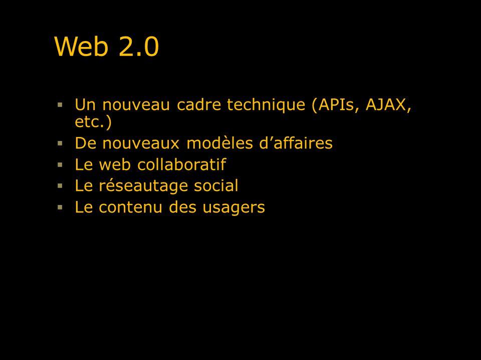 Web 2.0 Un nouveau cadre technique (APIs, AJAX, etc.) De nouveaux modèles daffaires Le web collaboratif Le réseautage social Le contenu des usagers