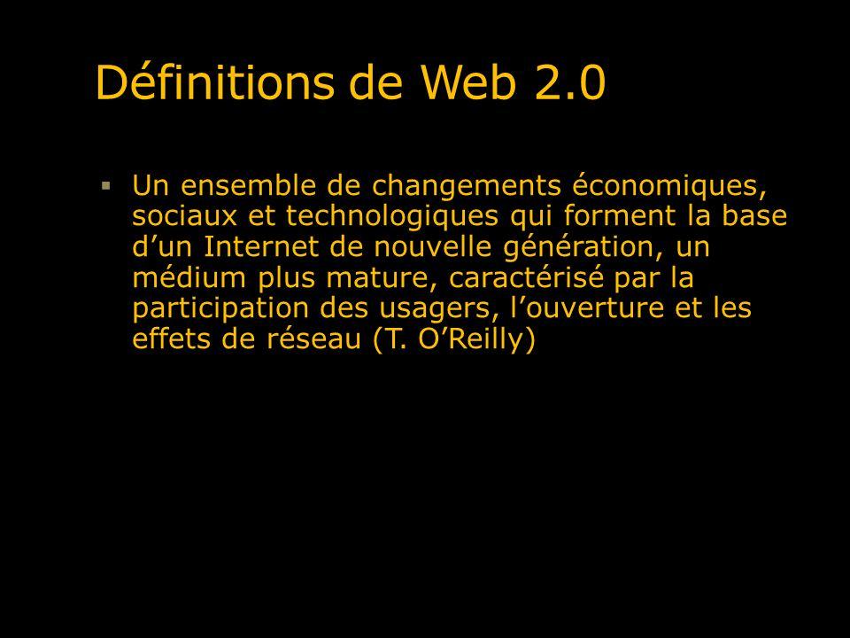 Quelques comparaisons Web 1.0Web 2.0 OfotoFlickr DoubleclickGoogle Adsense Britanica OnlineWikipedia Site web personnel Blogues Achat de noms de domainesOptimisation pour la recherche PublierPermettre la participation Système de gestion des contenus (CMS)Wikis « Stickyness »Syndication Répertoires (taxonomies) Tagging ou étiquetage ( Folksomonie ) Source : What is Web 2.0, OReilly, T.
