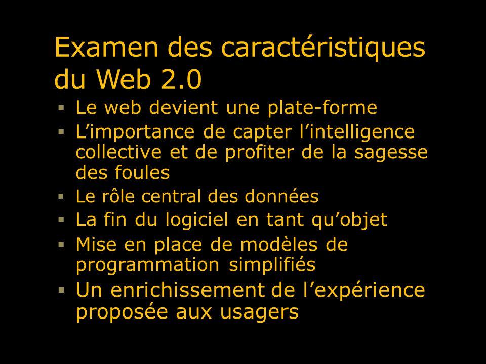 Examen des caractéristiques du Web 2.0 Le web devient une plate-forme Limportance de capter lintelligence collective et de profiter de la sagesse des