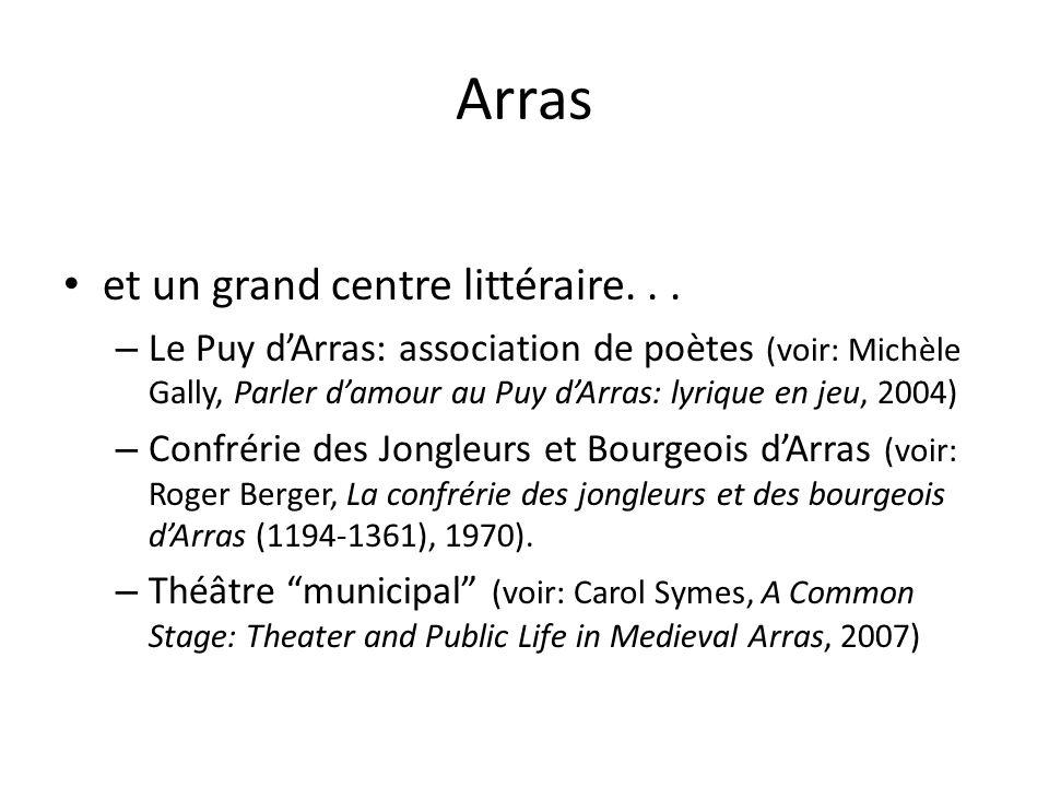 Arras et un grand centre littéraire... – Le Puy dArras: association de poètes (voir: Michèle Gally, Parler damour au Puy dArras: lyrique en jeu, 2004)