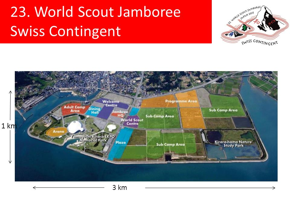 23. World Scout Jamboree Swiss Contingent 3 km 1 km