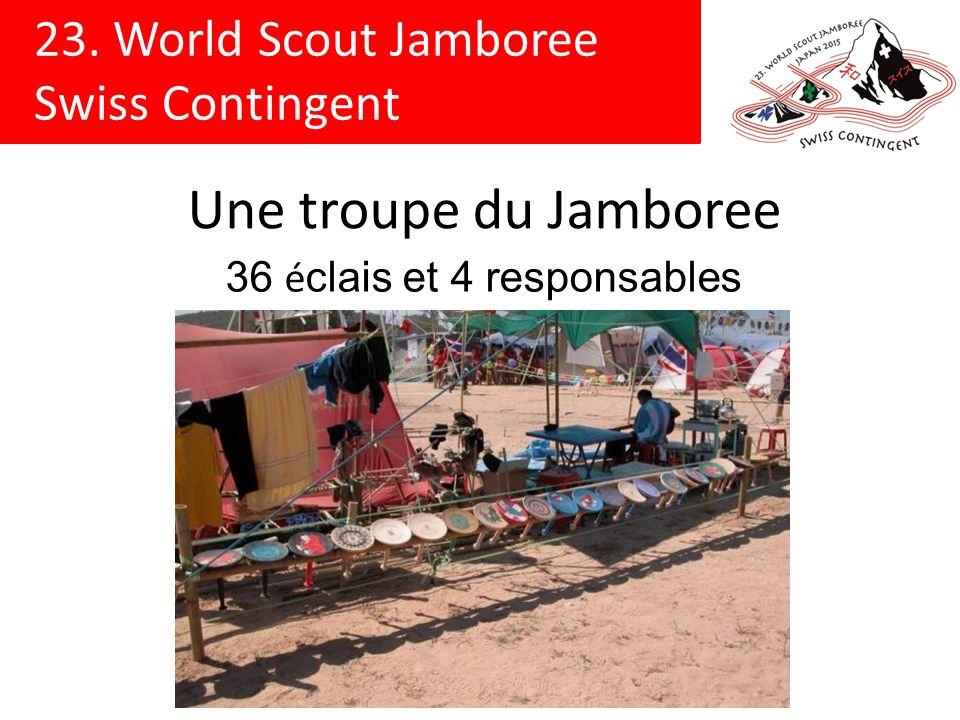 23. World Scout Jamboree Swiss Contingent Une troupe du Jamboree 36 é clais et 4 responsables