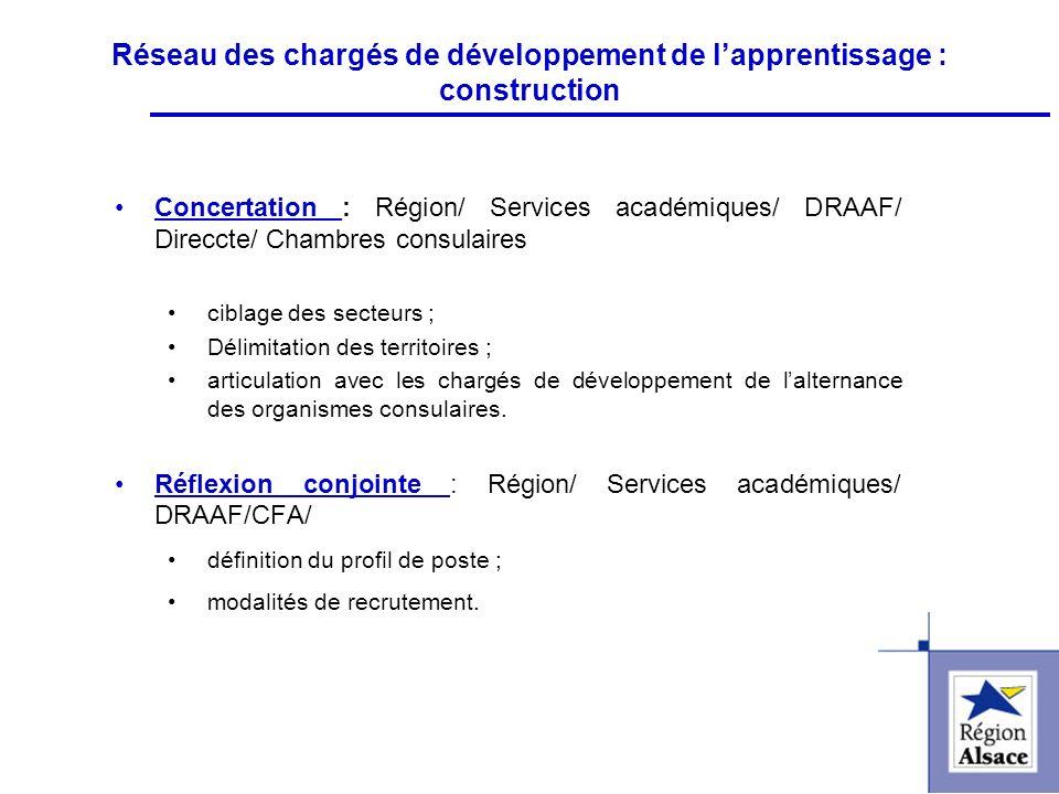 FI&FPCFI&FPC Réseau des chargés de développement de lapprentissage : construction Concertation : Région/ Services académiques/ DRAAF/ Direccte/ Chambr
